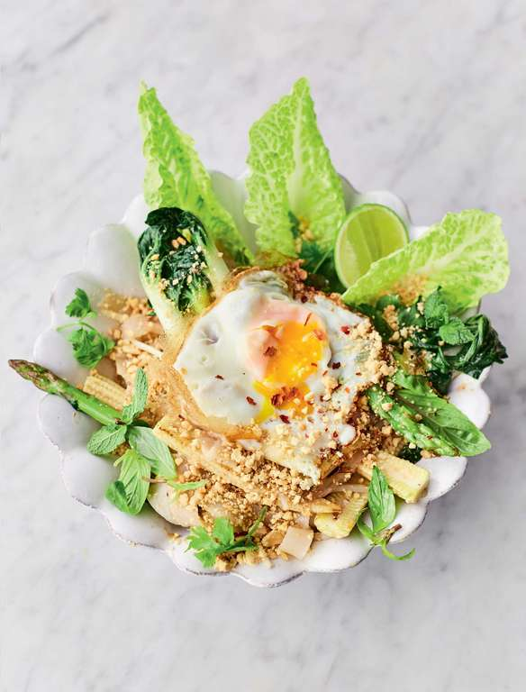 Jamie Oliver's Veg Pad Thai with Crispy Fried Eggs, Special Tamarind and Tofu Sauce, Peanut Sprinkle