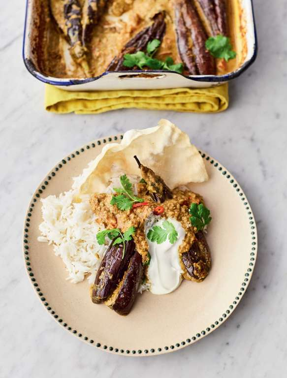 Jamie Oliver's Stuffed Curried Aubergines with Spiced Tamarind and Peanut Sauce, Fresh Coriander