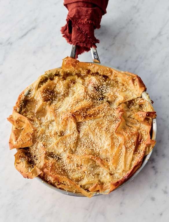 Jamie Oliver's Summer Veg Blanket Pie with Preserved Lemon, Saffron, Harissa, Crispy Layered Filo and Yoghurt