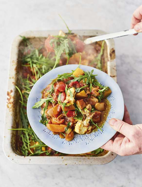 Jamie Oliver's Scrumptious Veg Traybake with Sweet Tomato, Chianti, Porcini, Olives, Oregano, and Baked Feta
