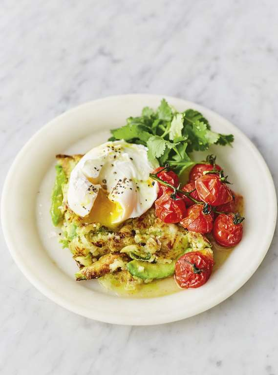 Jamie Oliver's Avocado and Jalapeño Hash Brown with Roasted Vine Tomatoes, Spring Onions, Coriander, and Poached Eggs