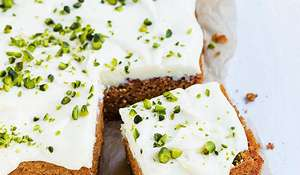 Carrot Cake with White Chocolate and Cream Cheese Topping Recipe| Vegan Baking