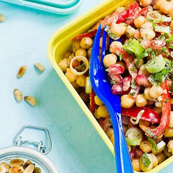 Indian Chickpea And Pomegranate Salad Recipe Vegan On The Go