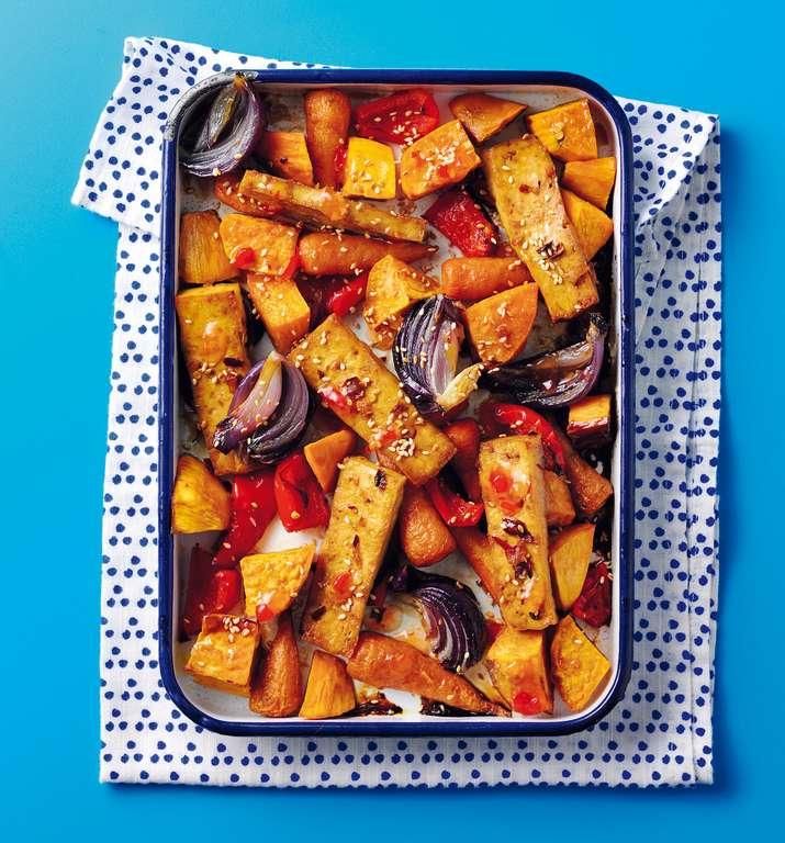 Roasted Vegetable and Tofu Traybake