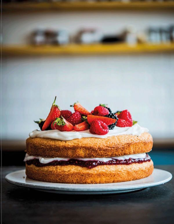easy vegan bakes Victoria Sponge CakefromThe Happy Pear Vegan Cooking for Everyoneby The Happy Pear