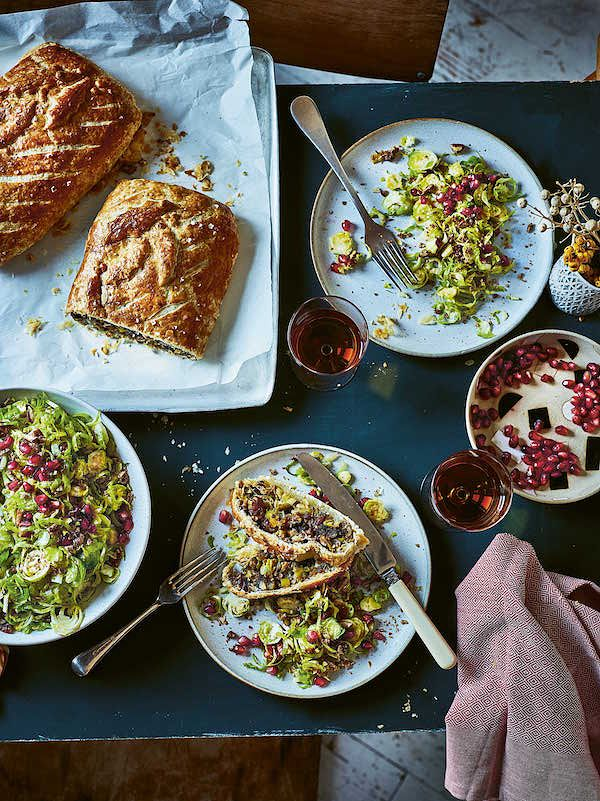 vegetarian main recipes christmas nut wellington elly pear green