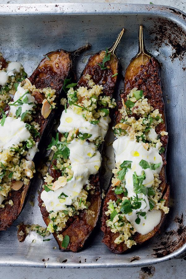 10 ultimate vegetarian Ottolenghi recipes chermoula aubergine with bulgur jerusalem