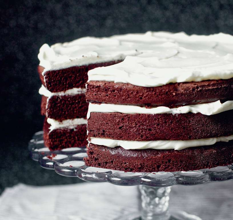 Red Wine Velvet Cake with Whipped Mascarpone