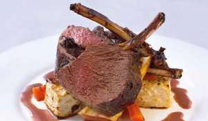 Roasted Rack of Venison with Grand Veneur Sauce and Root Vegetables