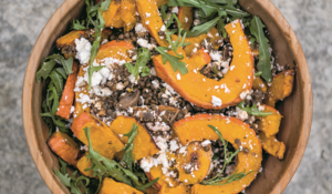 Lentils with Goat's Cheese and Roasted Pumpkin Salad