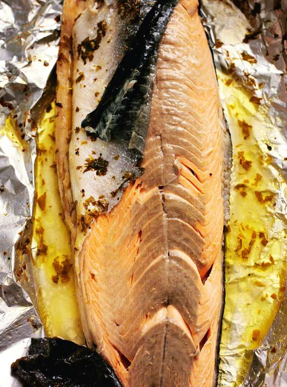 Whole Salmon Baked in Foil with Tarragon