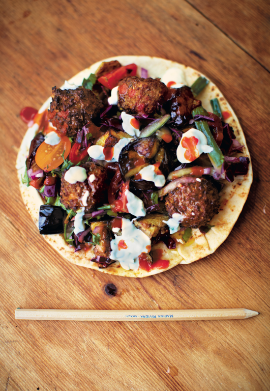 Falafel with Yoghurt, Aubergine & Red Cabbage Salad
