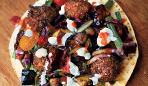 Falafel with Yoghurt, Aubergine & Red Cabbage Salad Wrap from The Little Book of Lunch