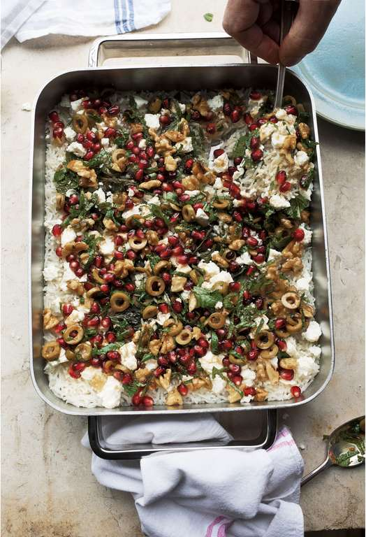 Yotam Ottolenghi's Baked Mint Rice with Olive and Pomegranate Salsa