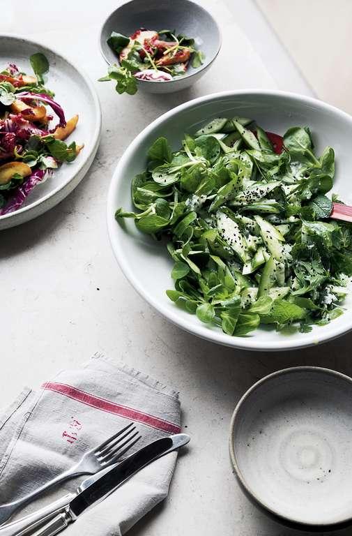 Yotam Ottolenghi's Cucumber and Lamb's Lettuce Salad