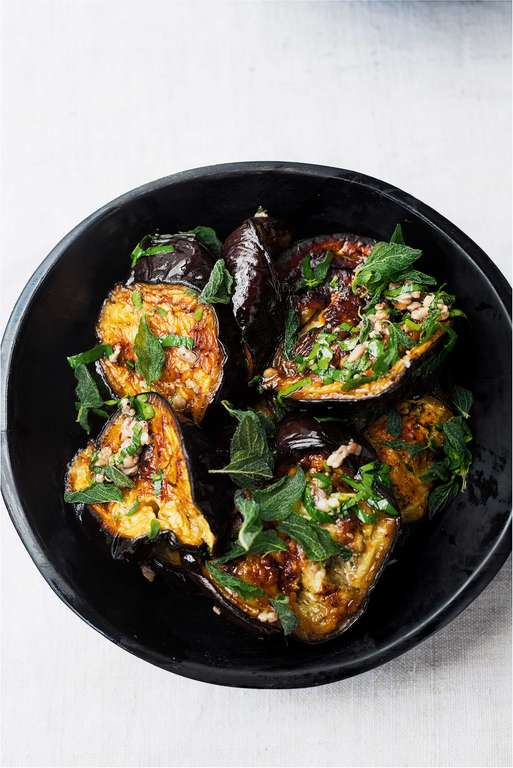Yotam Ottolenghi's Roasted Aubergine with Anchovies and Oregano