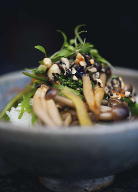 Yotam Ottolenghi's Miso Vegetables and Rice with Black Sesame Dressing