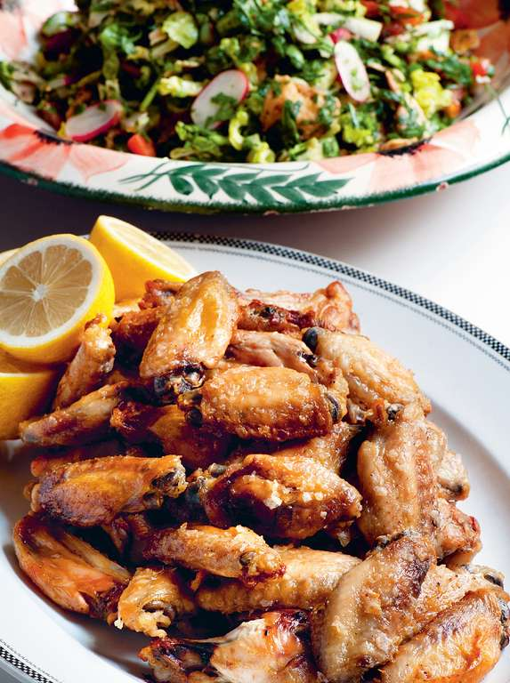 Fattoush with Chicken Wings