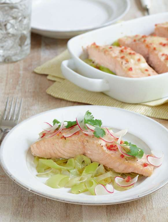 Yuzu Salmon with Buttered Leeks