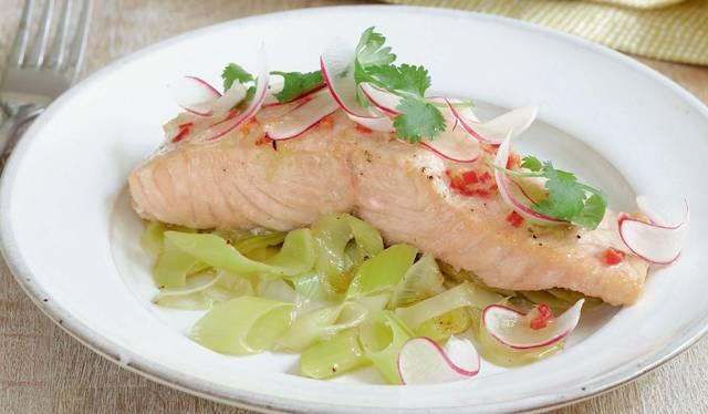 Yuzu Salmon with Buttered Leeks