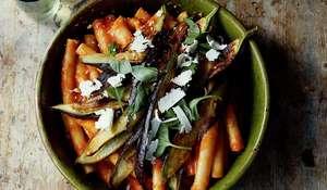 Zitoni alla Norma (Pasta with Aubergines and Tomatoes) from Francesco Mazzei's Mezzogiorno