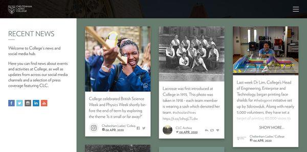 A social media feed on a school website