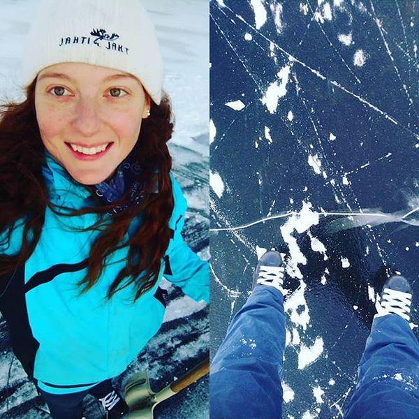 Snow stopped play today but hopefully we'll make the rink again 😊 #luistelu #luisteleminen #lampi #iceskating #⛸️ #talvi #liperi #pohjoiskarjala #icerink #pond #crackedice #jahtijakt
