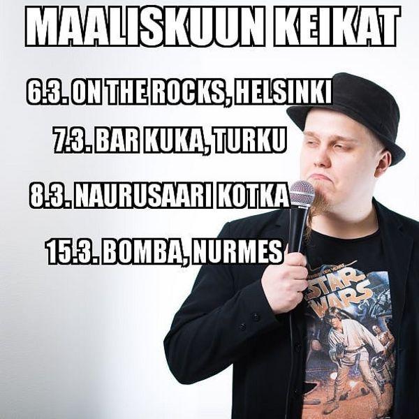 Maaliskuussa keikkaillaan vähän siellä sun täällä. #StandUp #Koomikonarki #Keikkaapukkaa #OnTheRocks #BarKuka #PlayersBar #Bomba #Helsinki #Turku #Kotka #Nurmes