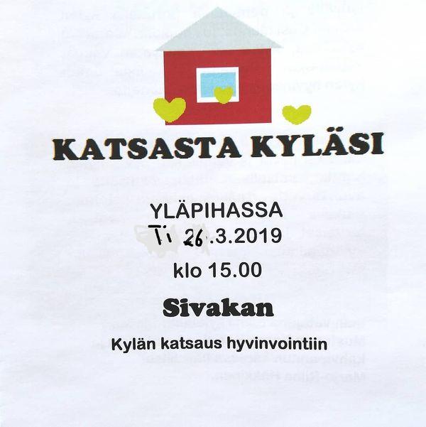 Sivakan kyläilta ti 26.3.2019 klo 15.00  Village evening at Sivakka Village Valtimo  Laitan ilmoituksen tännekin, että mahdollisimman moni näkisi sen. Kyläläiset ovat melko passiivisia osallistumaan mihinkään yhteisiin juttuihin, mutta vapaa-ajanasukkaat, metsästysseuralaiset ym. kylän asioista kiinnostuneet tervetuloa mukaan!  #Sivakka #Valtimo #kylätoiminta #leader #maaseutu #Yläpihantila #perisivakka #kylä #yhteisö #yhteisöllisyys #yhteistyö #maaseudunkehittäminen #pohjoiskarjala #sivakkavaara
