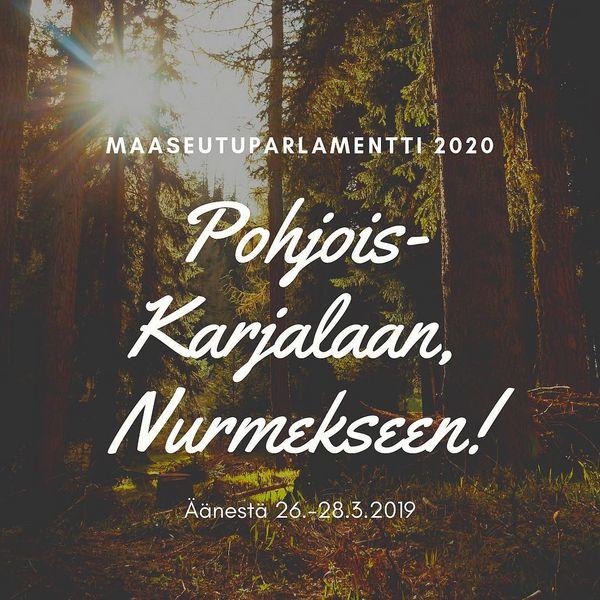 Kisa vuoden 2020 Maaseutuparlamentin tapahtumapaikasta on käynnissä! Paikka valitaan äänestämällä. Äänestetään yhdessä tapahtuma Pohjois-Karjalaan, Nurmekseen! Linkki äänestykseen biossa. . . . #maaseutuparlamentti #maapuhuu #nurmes #pohjoiskarjala