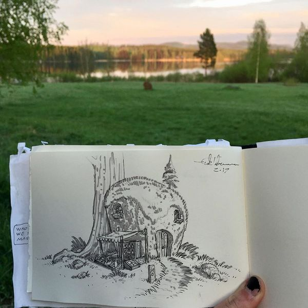 Hi! Todays walk was very tireing due to difficult terrain. A lot of climbing up steep rocky hillsides and then coming down the other side. Finally we came up to a nice lakeside place to rest for the night. #sketch #drawing #fantasydrawing #nature #sketching #kolinkansallispuisto #nationalpark #finland #kolinationalpark #eriktaberman #art #sketchbook #lake #fantasyart #illustration