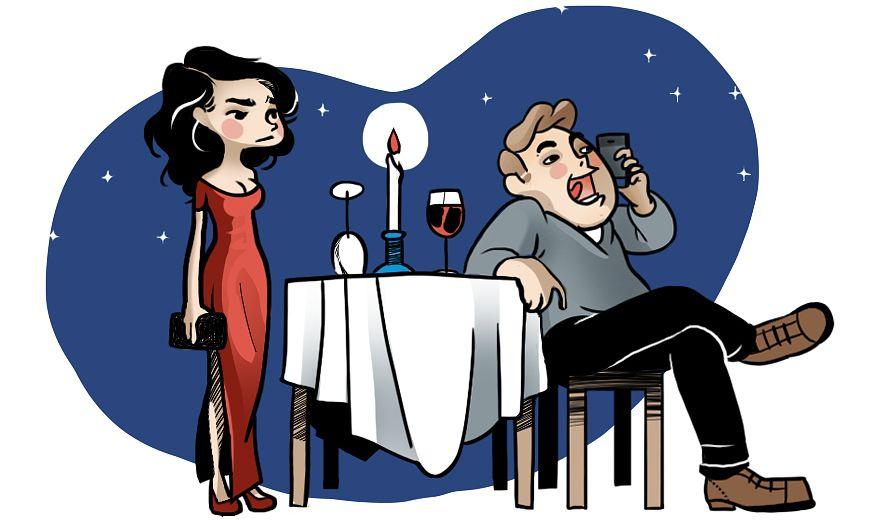 Tyttö saapuu illalliselle, poika puhuu kännykkään
