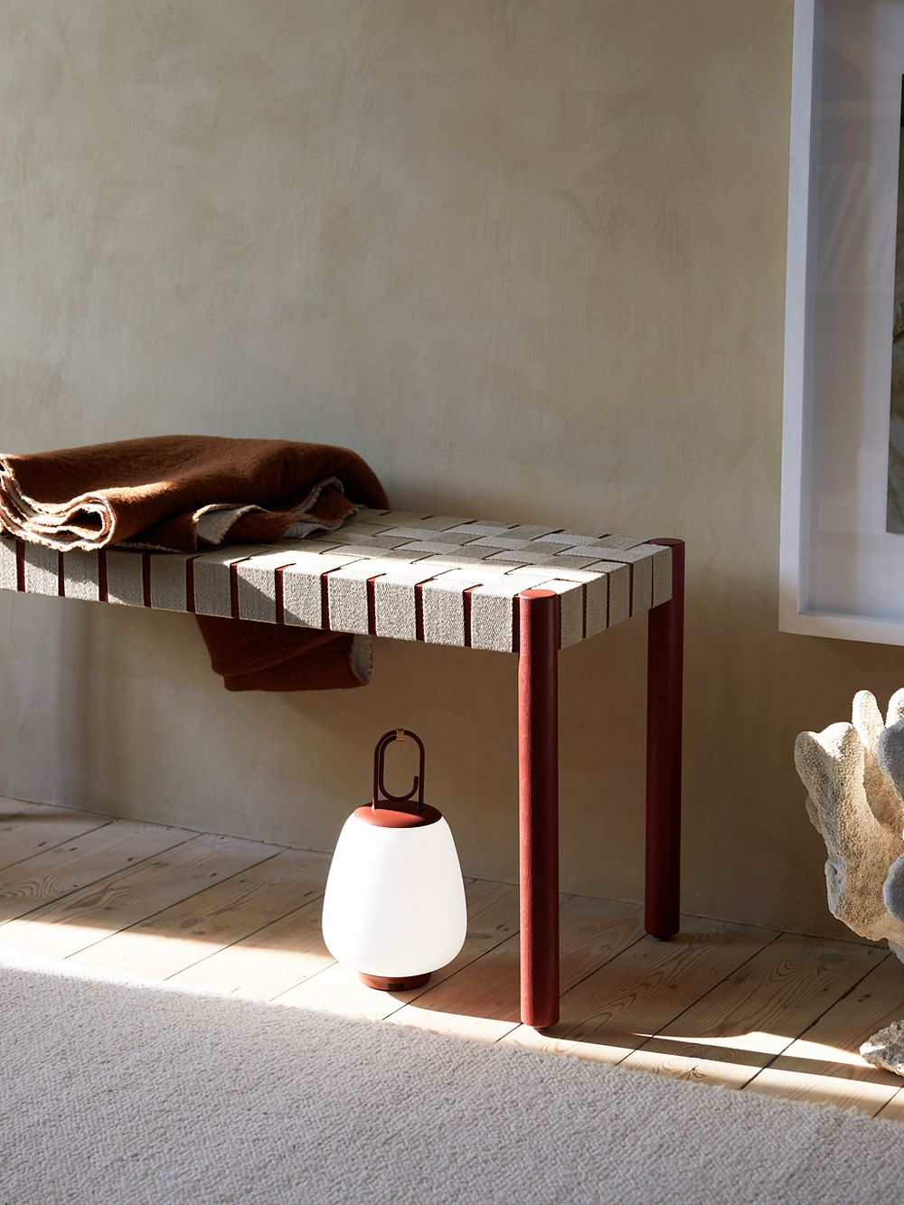 &Tradition Betty bench and Lucca table lamp