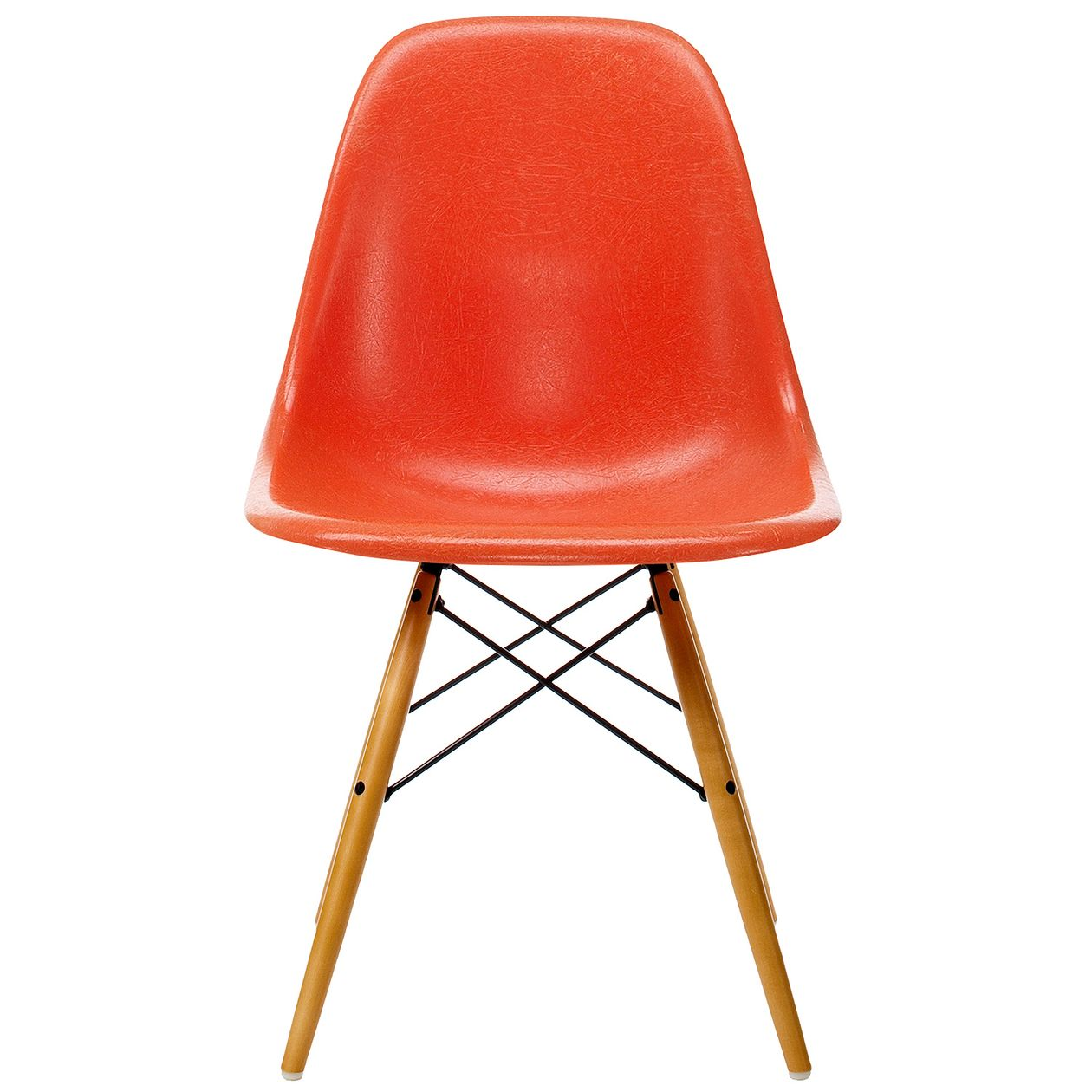 Vitra Eames Fiberglass Chair in red orange