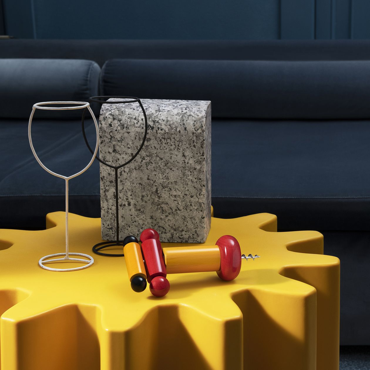 Alessi Sottsass corkscrew, yellow - red - black