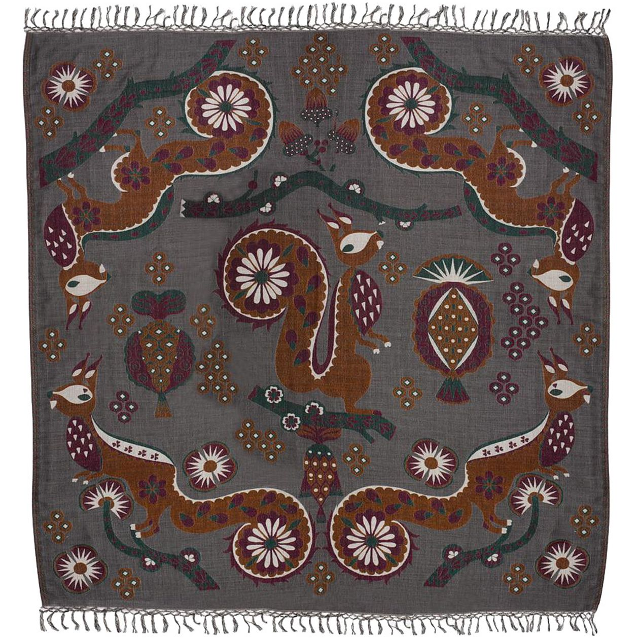 Klaus Haapaniemi Squirrel shawl, 150 x 150 cm, grey