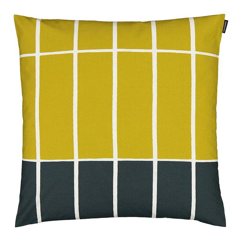 Marimekko Tiiliskivi cushion cover 50 x 50 cm, dark green - beige - lime