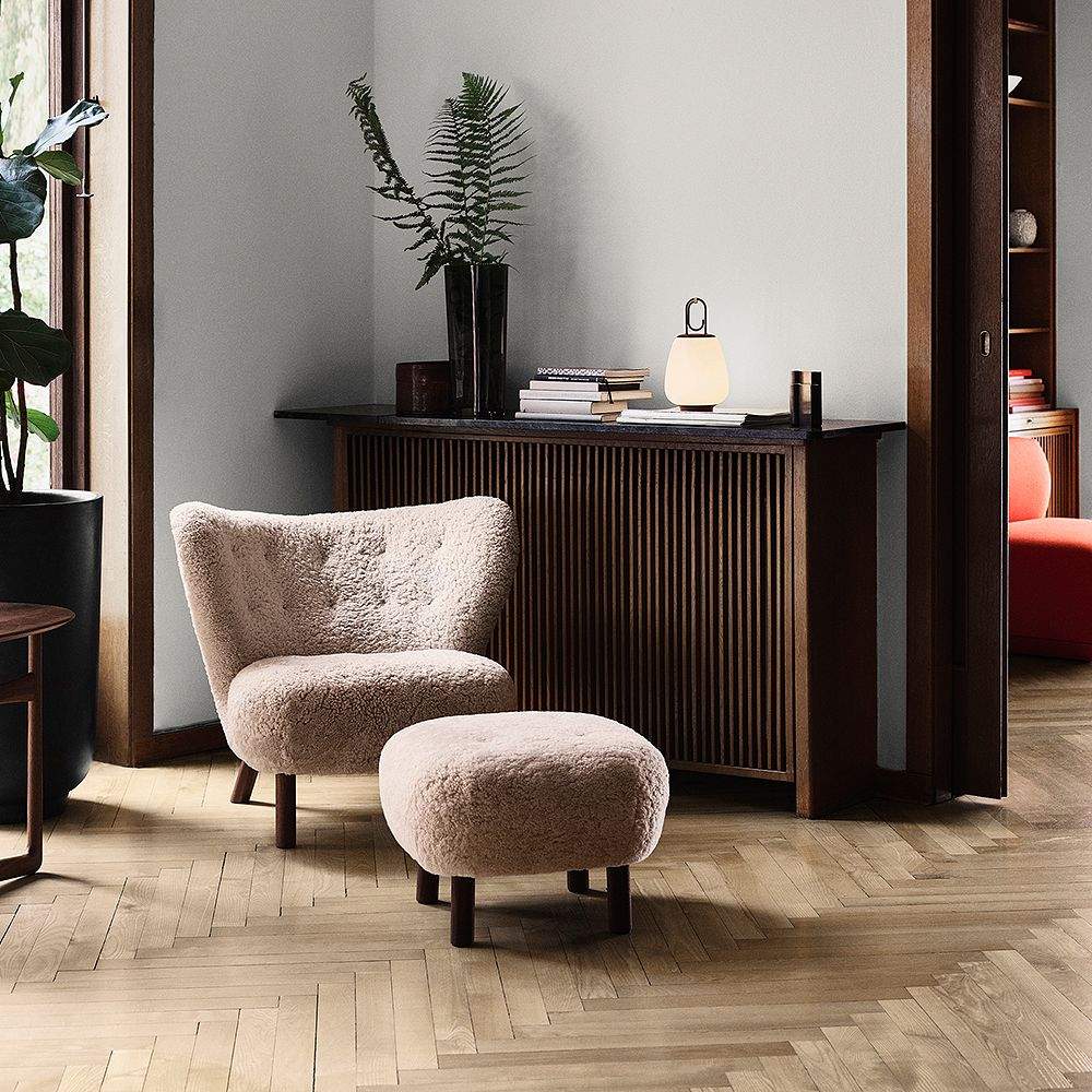 &Tradition's Petra lounge chair and ottoman