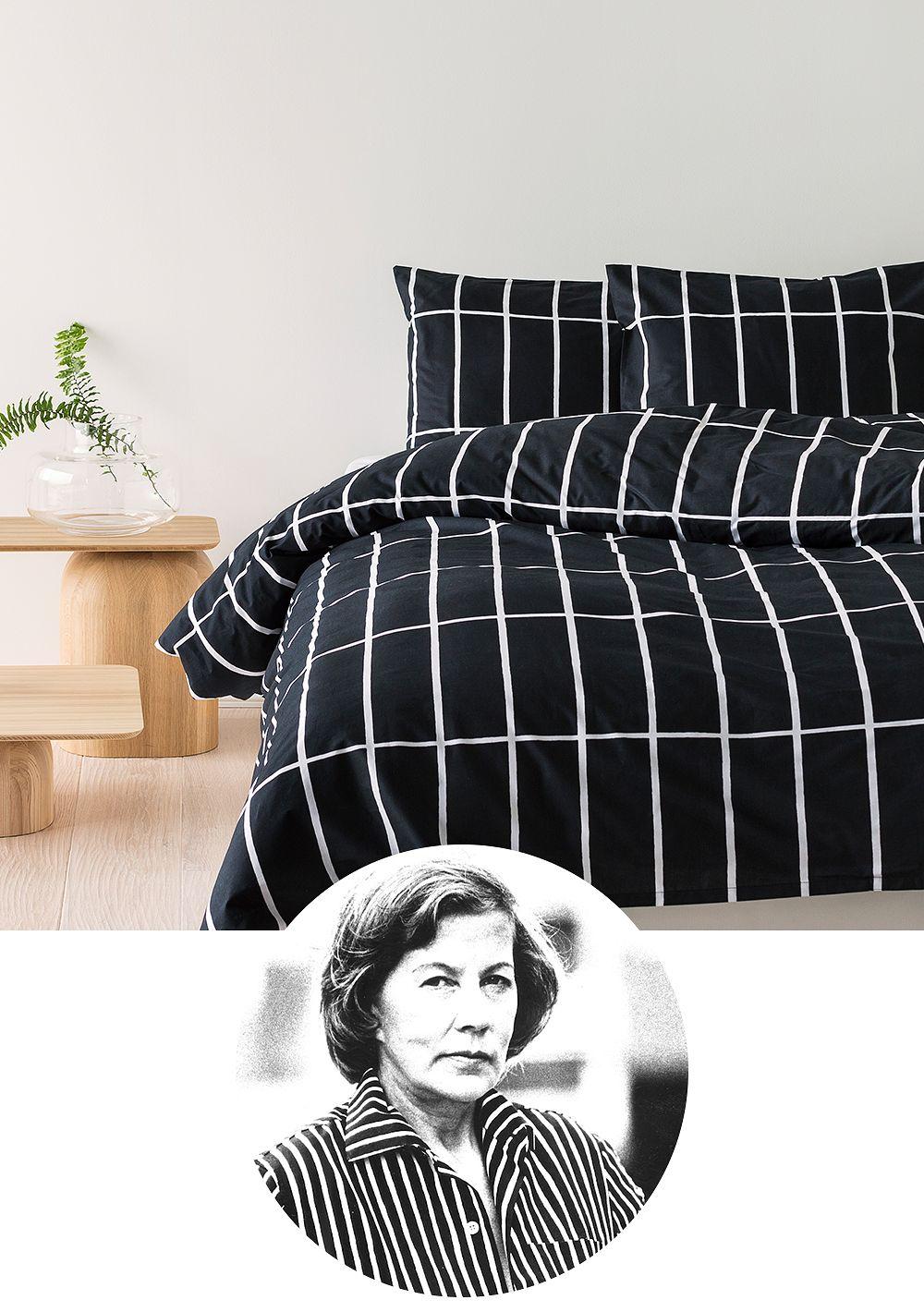 Designer Armi Ratia featuring her iconic Marimekko Tiiliskivi pattern.