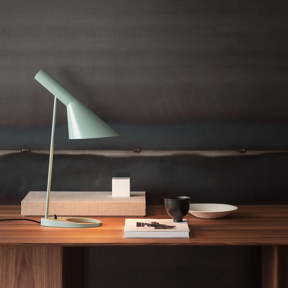 Louis Poulsen's AJ table lamp in light petrol