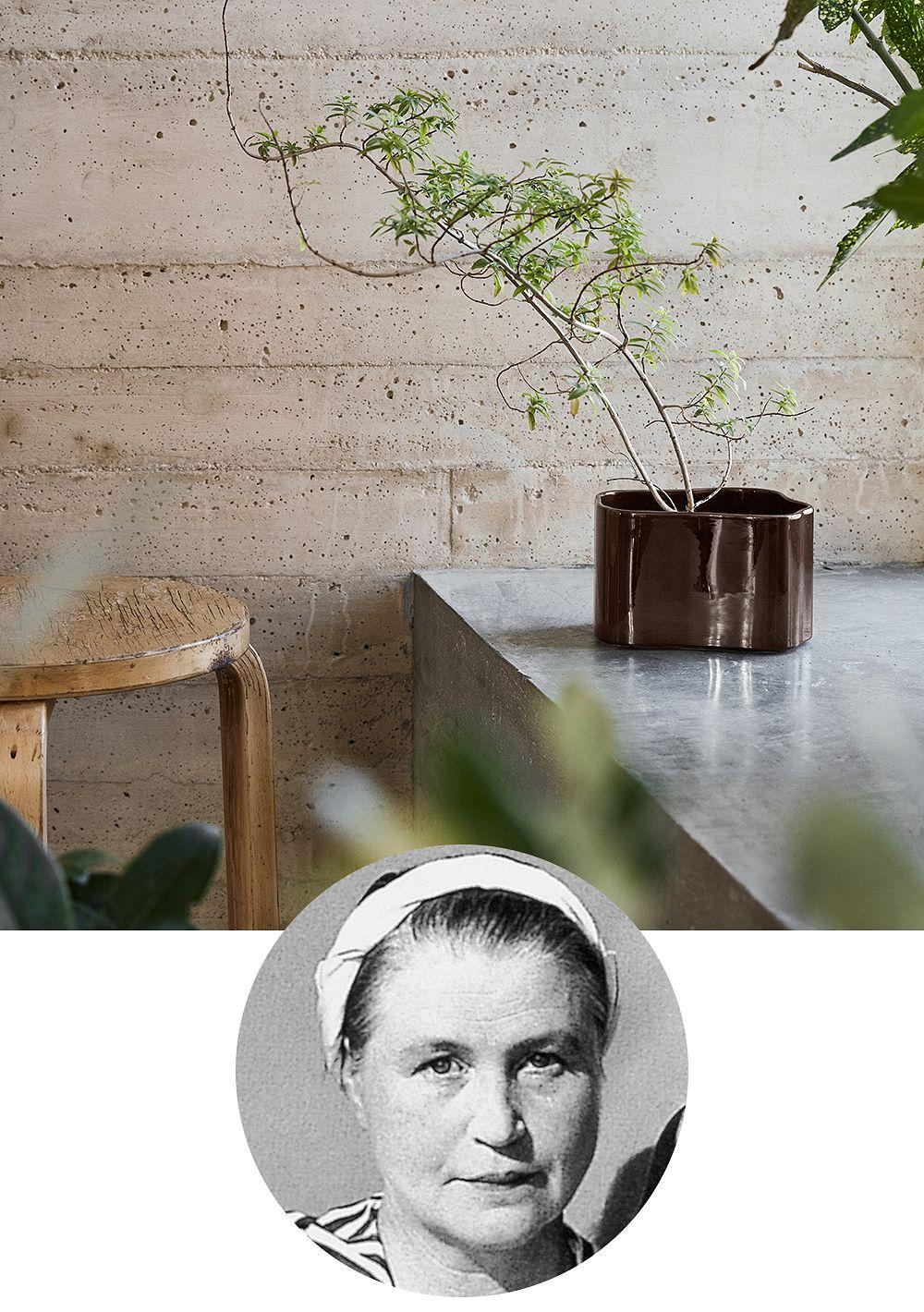 Designer Aino Aalto and her iconic Riihitie pot manufactured by Artek.