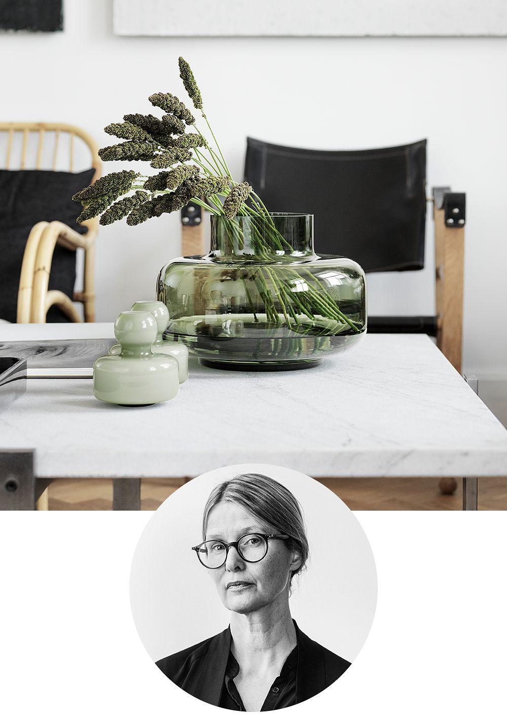 Designer Carina Seth Andersson and her Urna and Mini vases designed for Marimekko.