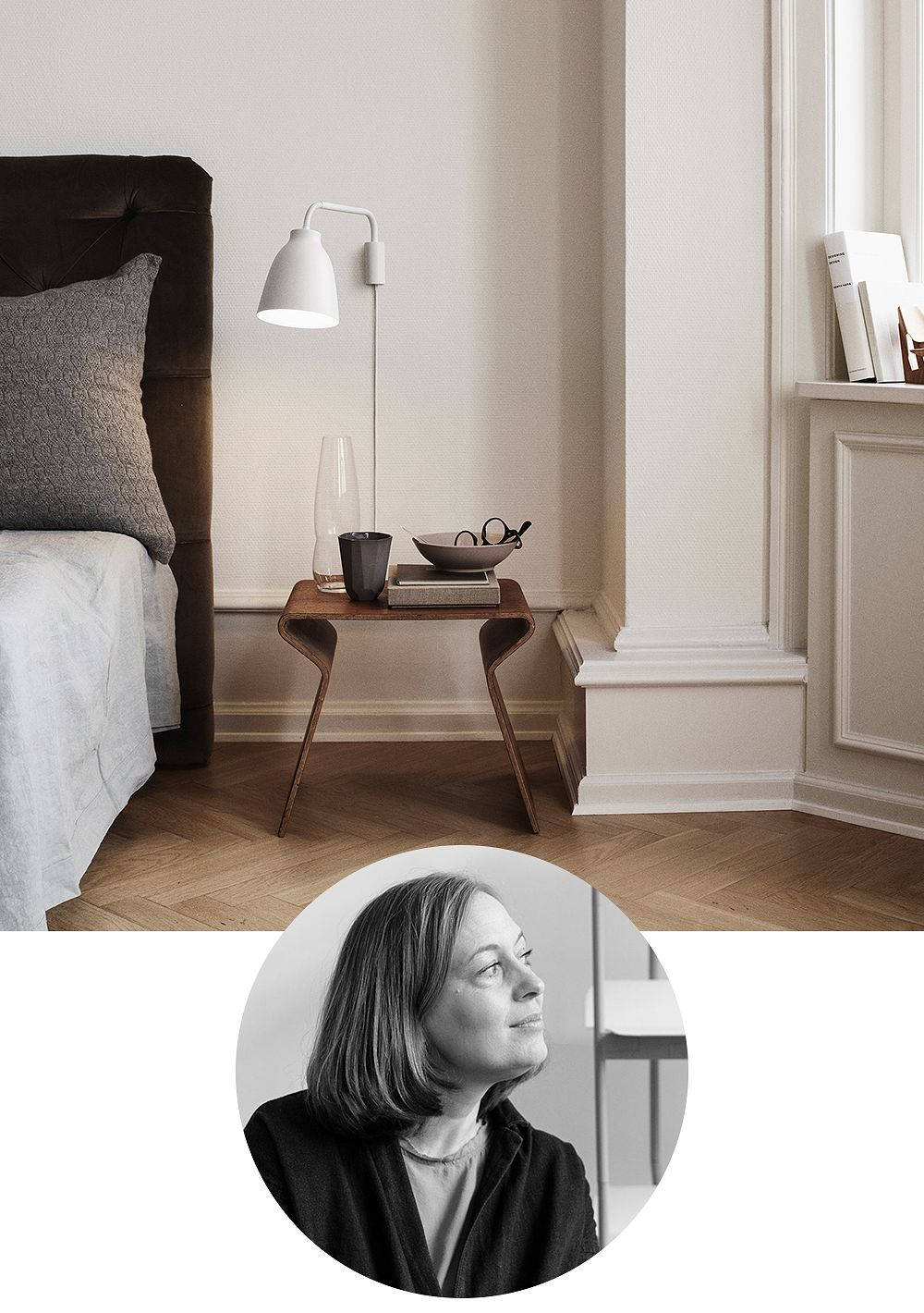 Designer Cecilie Manz featuring her design, the Caravaggio wall lamp.