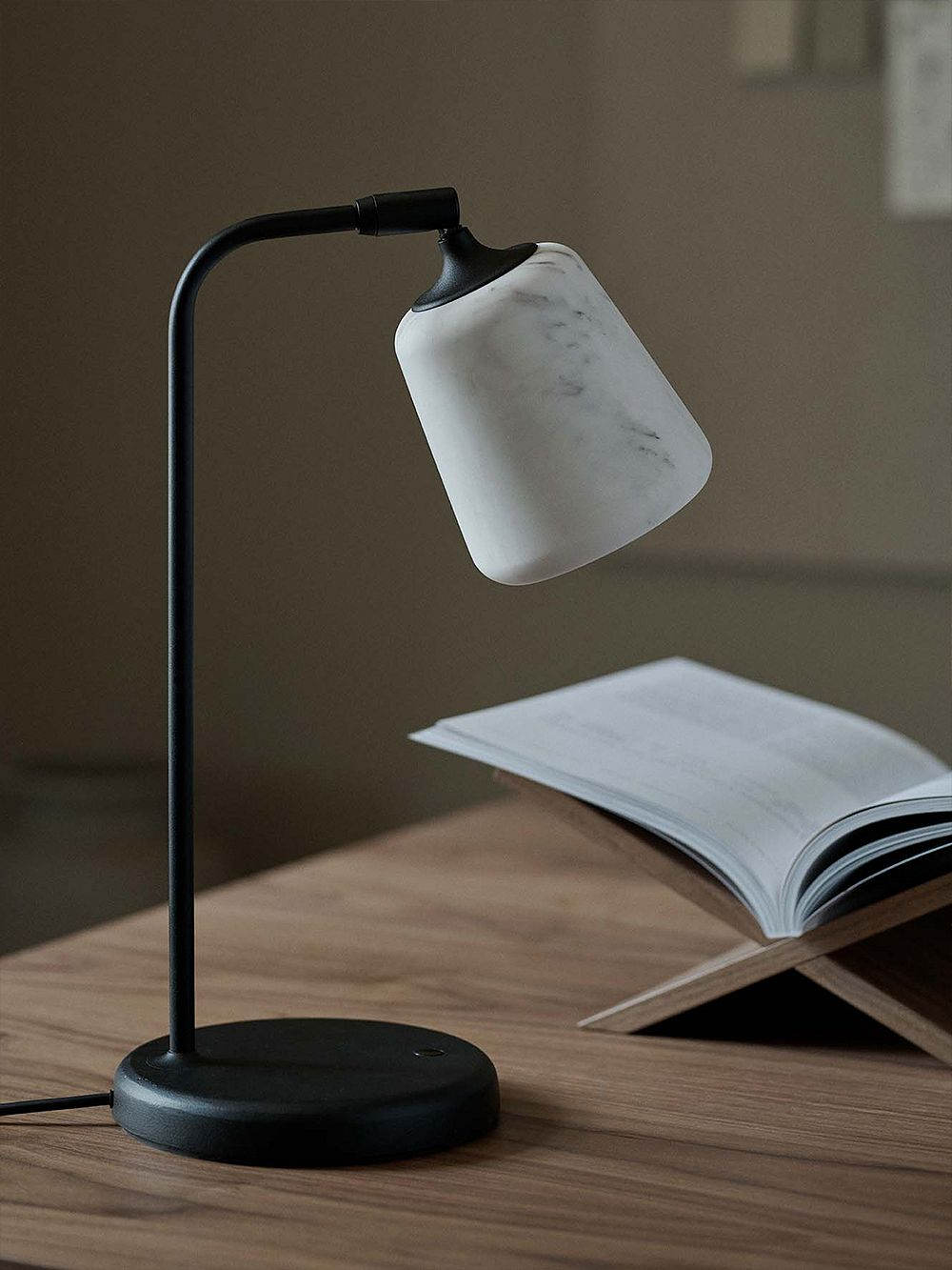 New Works Material table lamp, The Black Sheep Edition, white marble