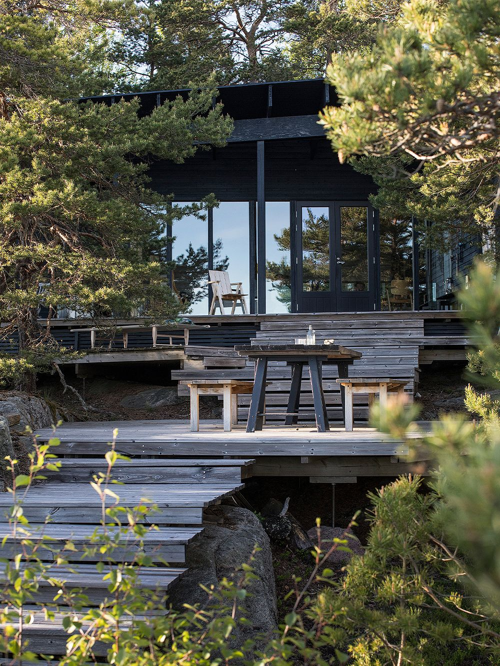 A black summer cottage exterior