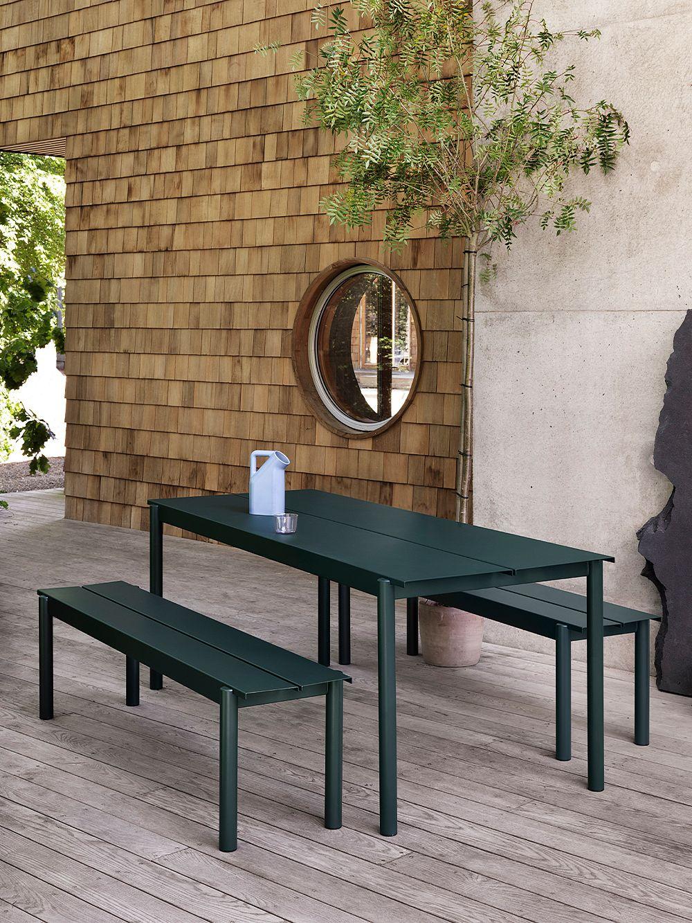Muuto Linear Steel table 200 x 75 cm, dark green