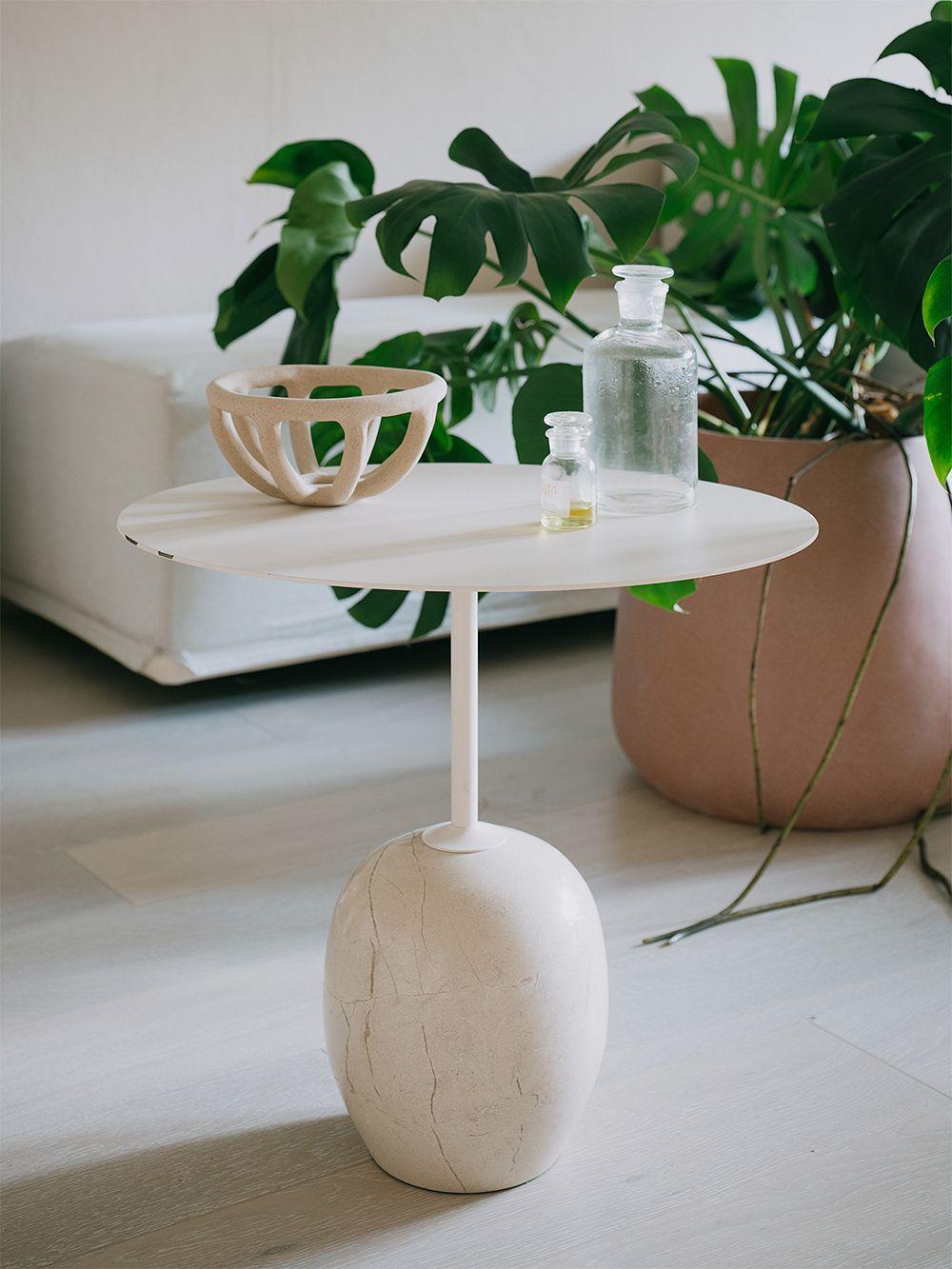 &Tradition Lato LN9 coffee table, white - Cream Diva marble