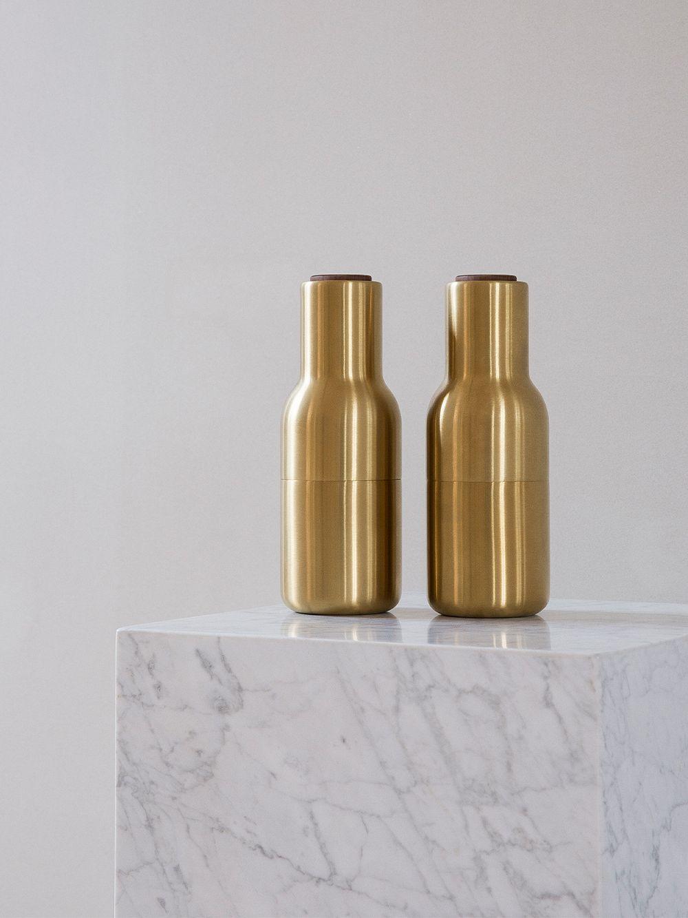 Menu Bottle Grinder, 2 pcs, brushed brass - walnut