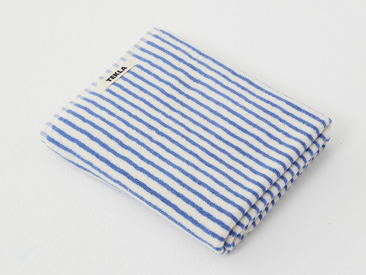 Tekla striped hand towel in blue and white