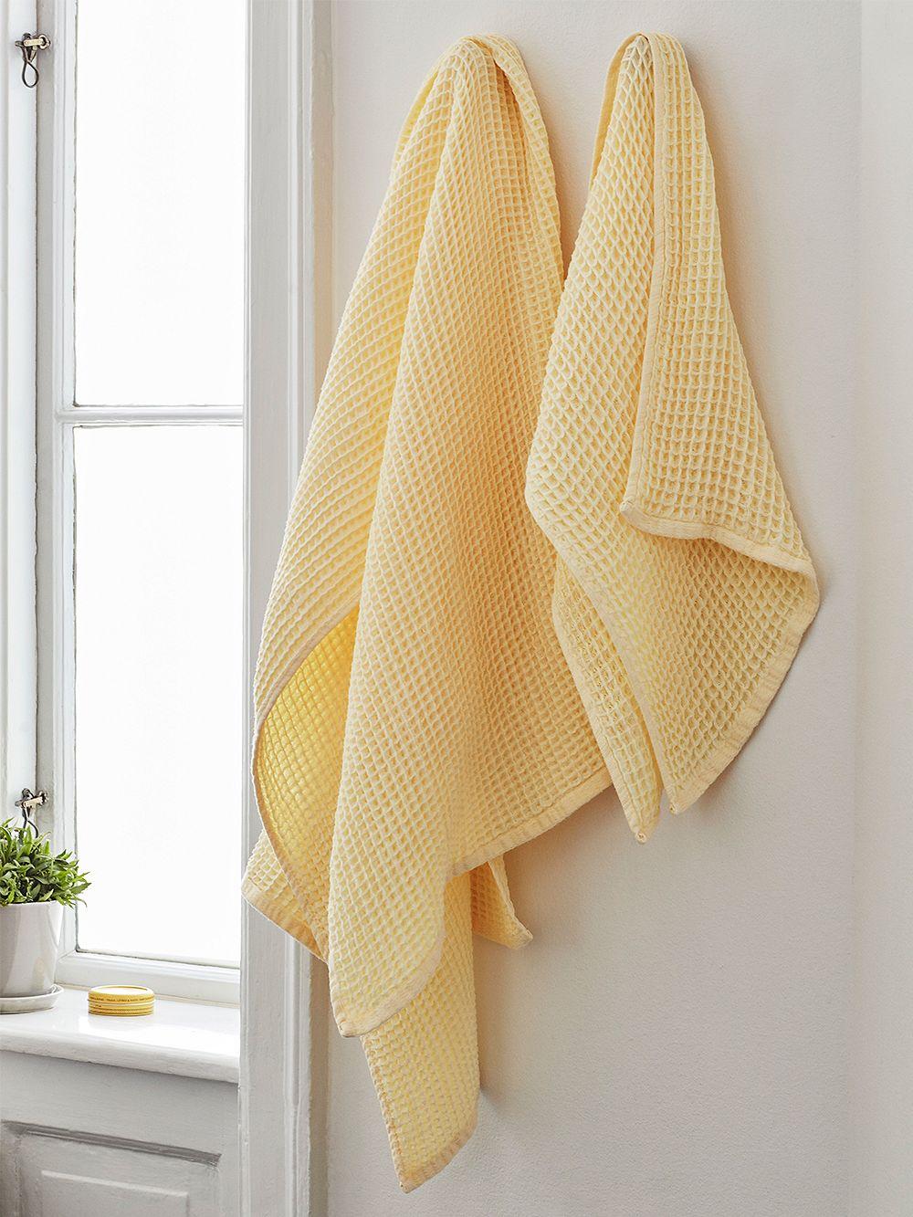 HAY Giant Waffle bath towel, soft yellow